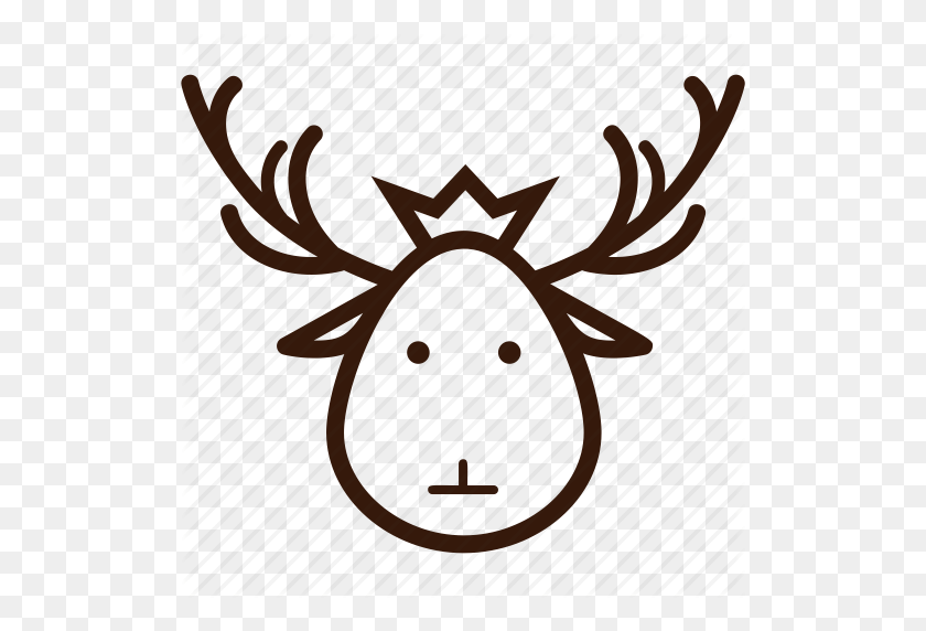 Christmas Icon, Decoration, Deer, Deer Head, Ornament, Santa Deer Icon - Deer Head PNG