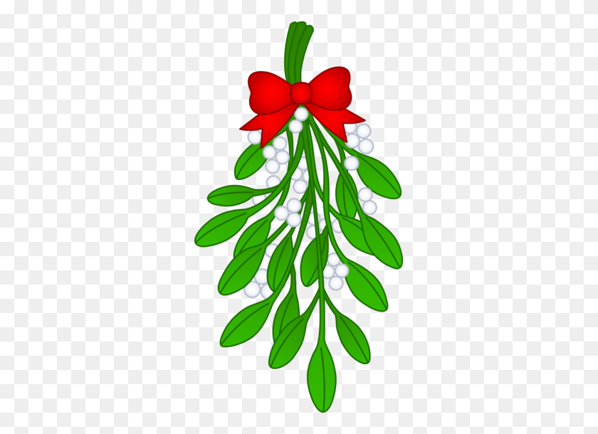 Christmas Mistletoe With Red Bow - Simple Christmas Clipart