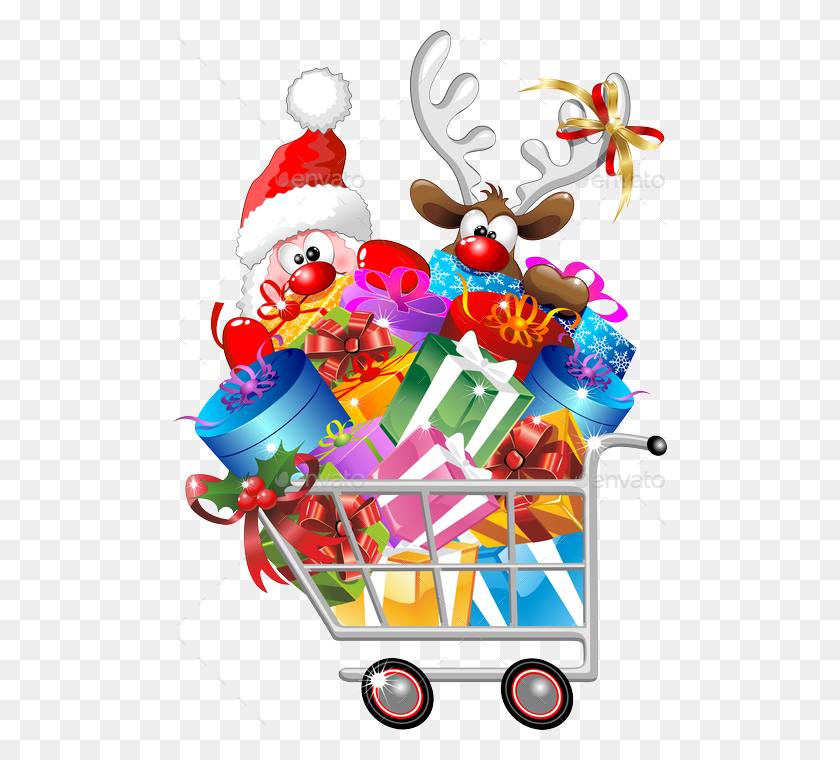 Christmas Shopping Images Group With Items - Christmas Bazaar Clipart
