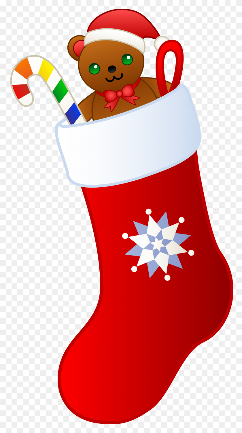 Christmas Stockings Clipart Group With Items - Simple Christmas Clipart