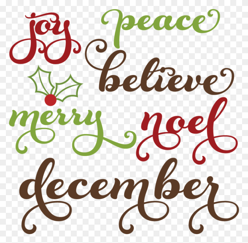 800x782 Christmas Words Cutting Christmas Words Clipart Free - Free December Clip Art