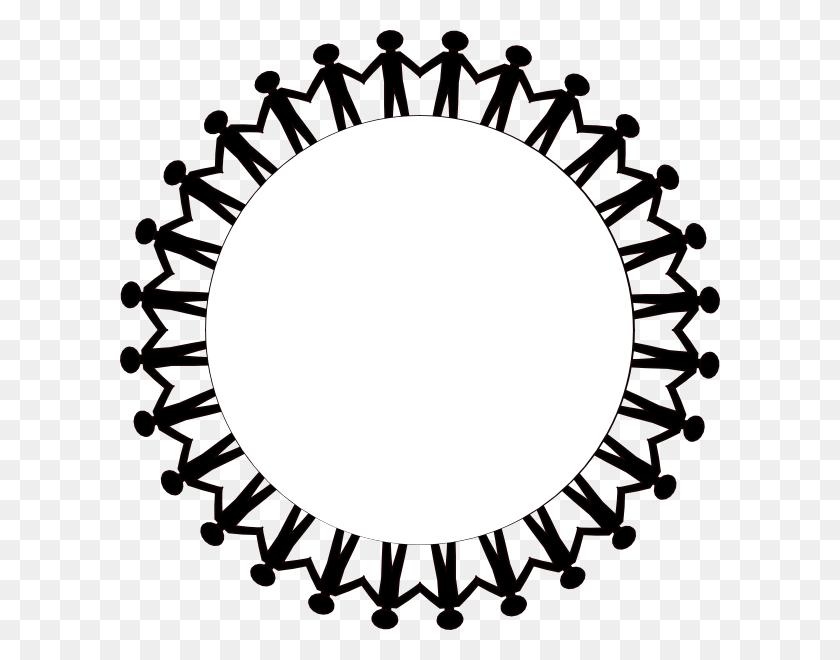 Circle Holding Hands Stick People Black Clip Art - Stick Figure Clip Art Black And White