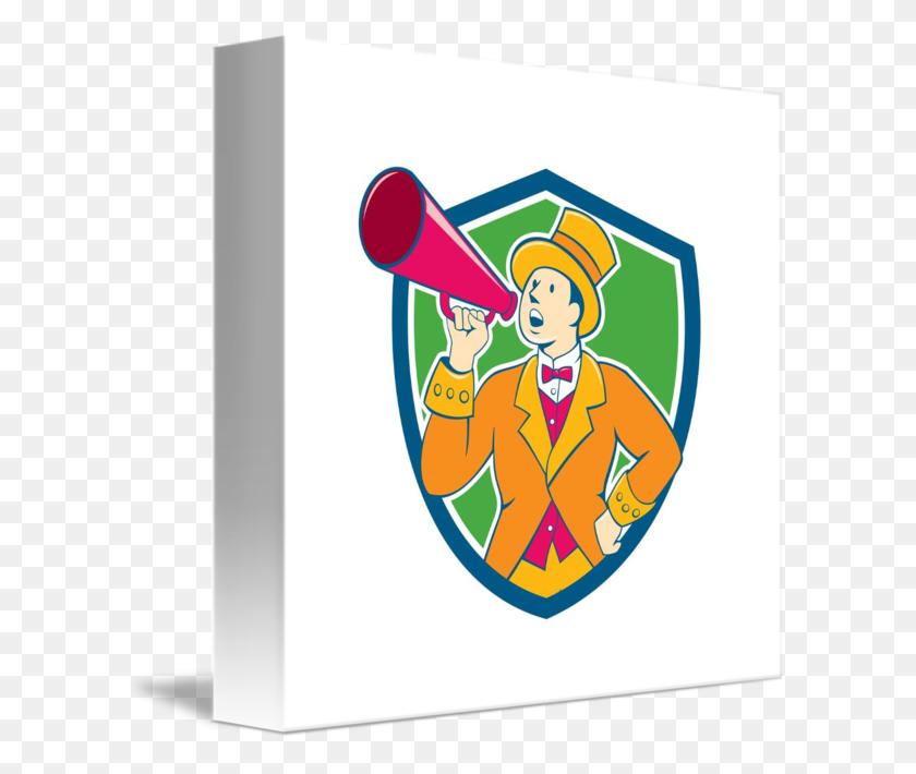 Circus Ringmaster Bullhorn Crest Cartoon - Circus Ringmaster Clipart