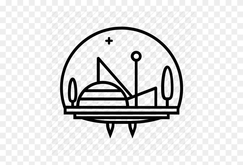 City, Dome, Flying City, Futuristic City, Scifi Icon - Sci Fi PNG