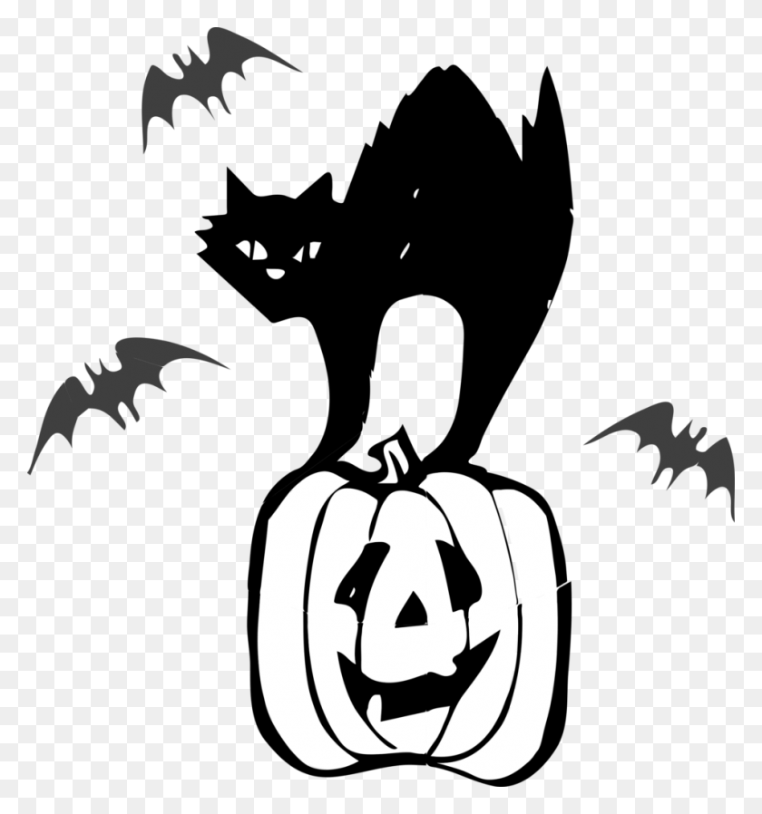 Clip Art Black Cat Halloween Winging - Black And White Clipart Cat
