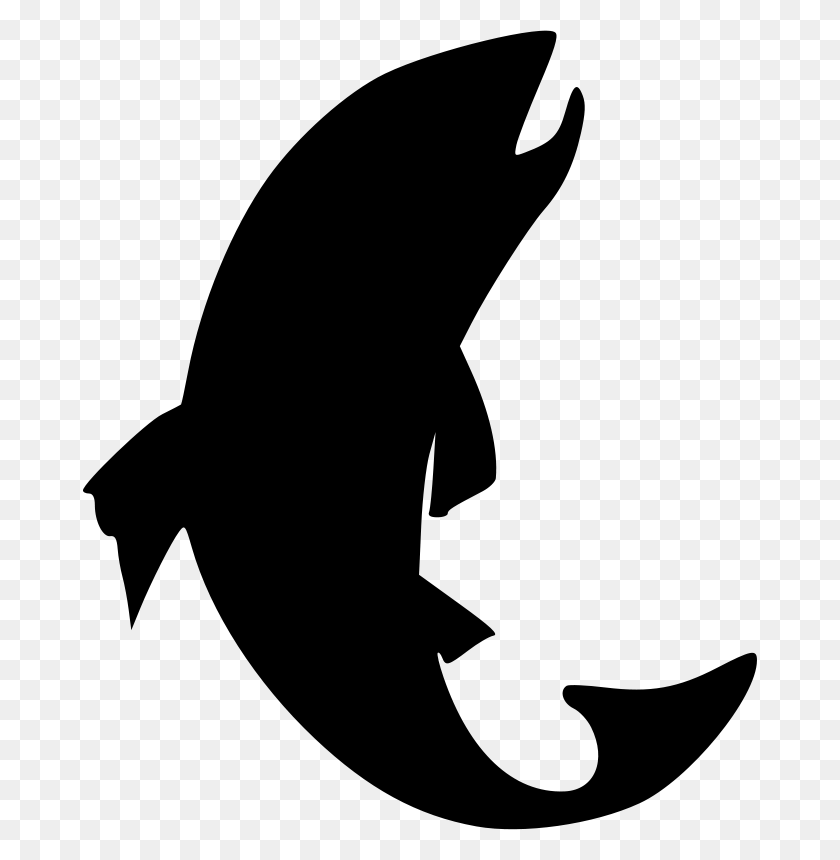 Clip Art Of Fish Silhouette Black And White Free Fin Clipart Dise - O Clipart