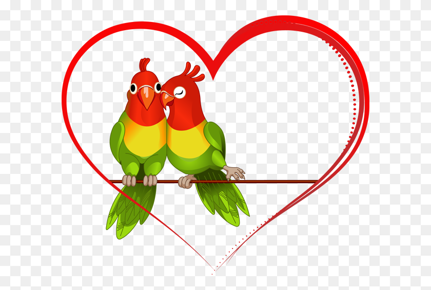 Clip Art Of Lovebirds - Love Birds Clipart