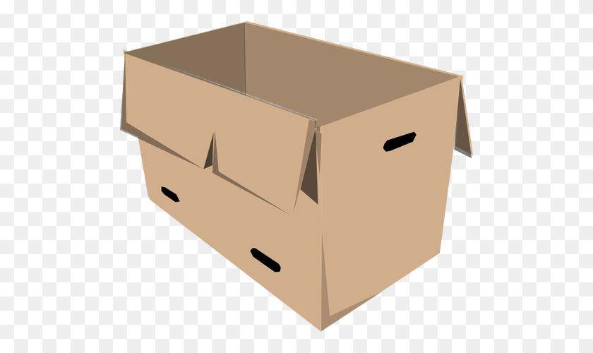 Clip Art Of Open Recyclable Cardboard Box - Cardboard Box Clipart