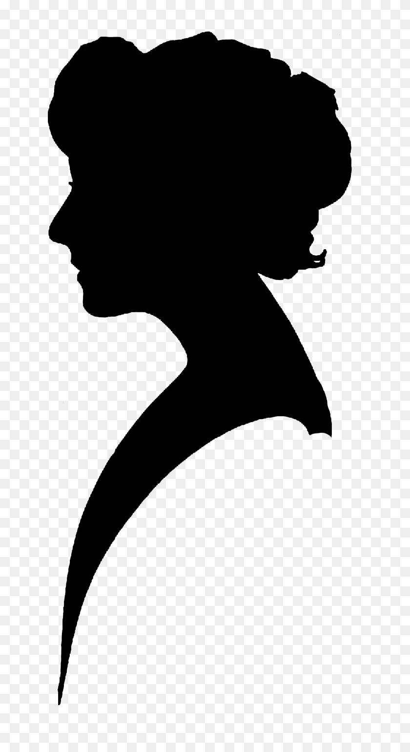 Clip Art Silhouette Female Heads Clipart - Woman Clipart