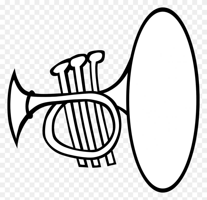 Clip Art Silly Trumpet Bw - Silly Clipart