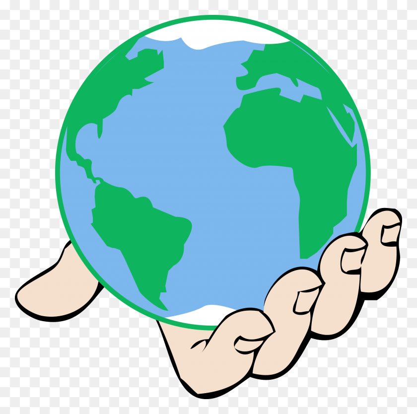 Clipart Big World In Hand - Hand In Hand Clipart