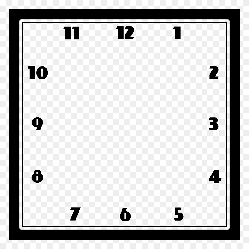 Clock Face Template Square Clock Template, Basic Black Frame - Clock Face PNG