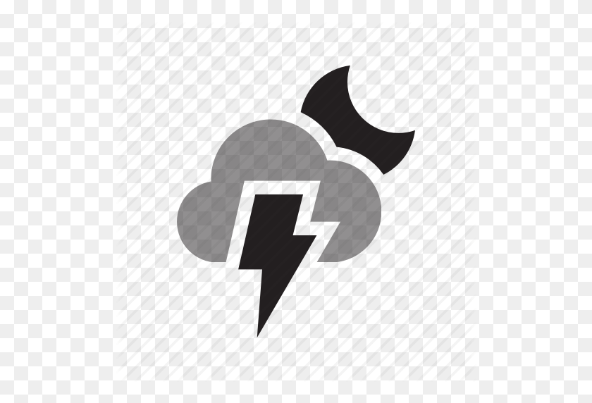 Cloudy, Flash, Light, Lightning, Moon, Set, Weather Icon - Light Flash PNG