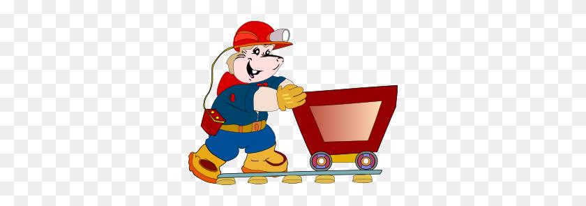 Coal Miner Pushing Cart Clip Art - Push Clipart