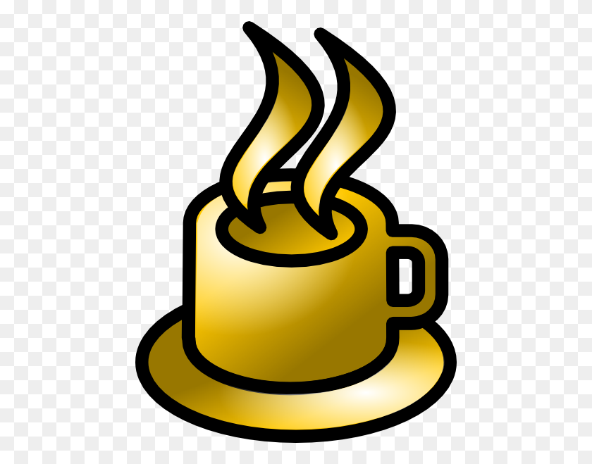 456x599 Coffee Cup Gold Theme Clip Art Free Vector - Pop Culture Clipart