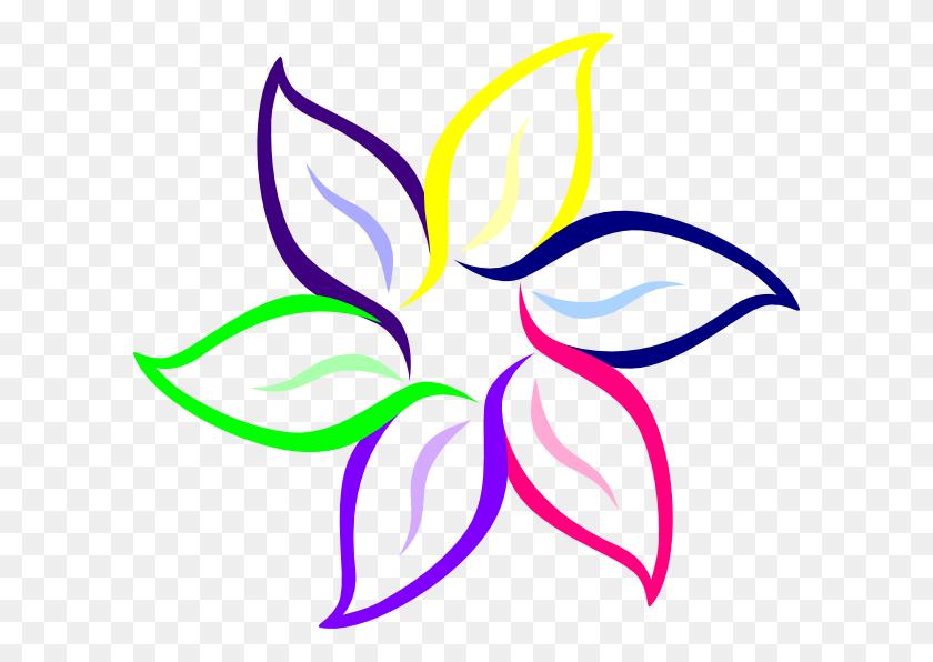 600x536 Color A Flower Multi Color Flower Clip Art - Mermaid Outline Clipart