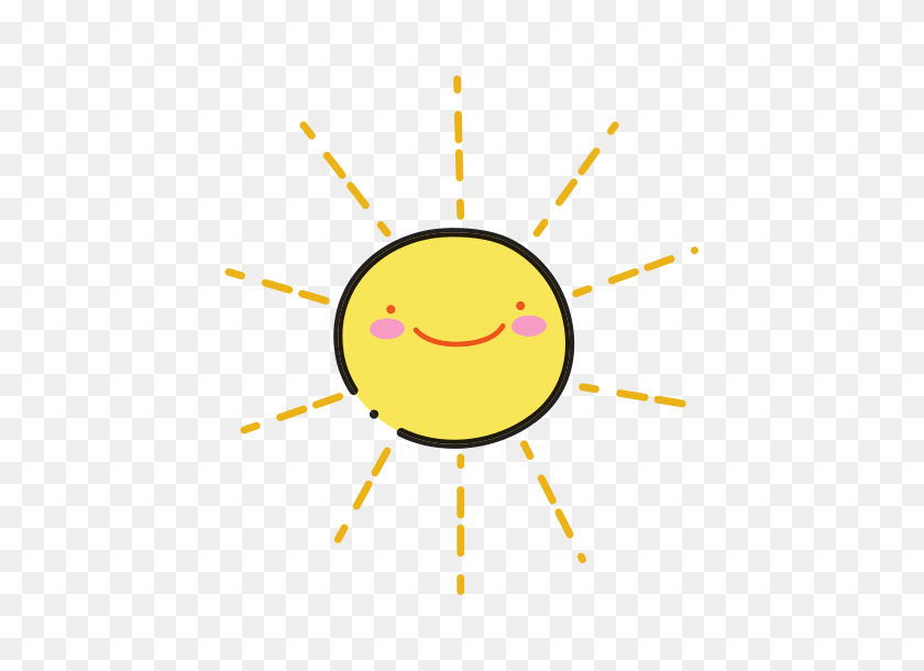 Color Happy Sun Nature Weather Kawaii - Happy Sun PNG
