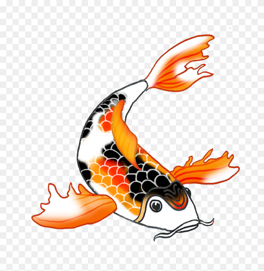 Colorful Koi Fish Drawings - Pink Fish Clipart