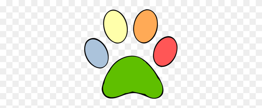 299x288 Colorful Paw Print Clip Art - Puppy Paw Print Clip Art