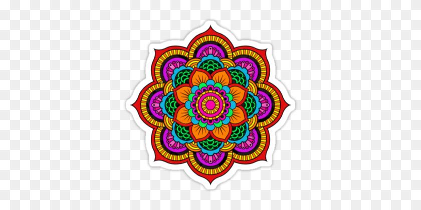 375x360 Colourful Indian Mandala' Sticker - Mandala Vector PNG