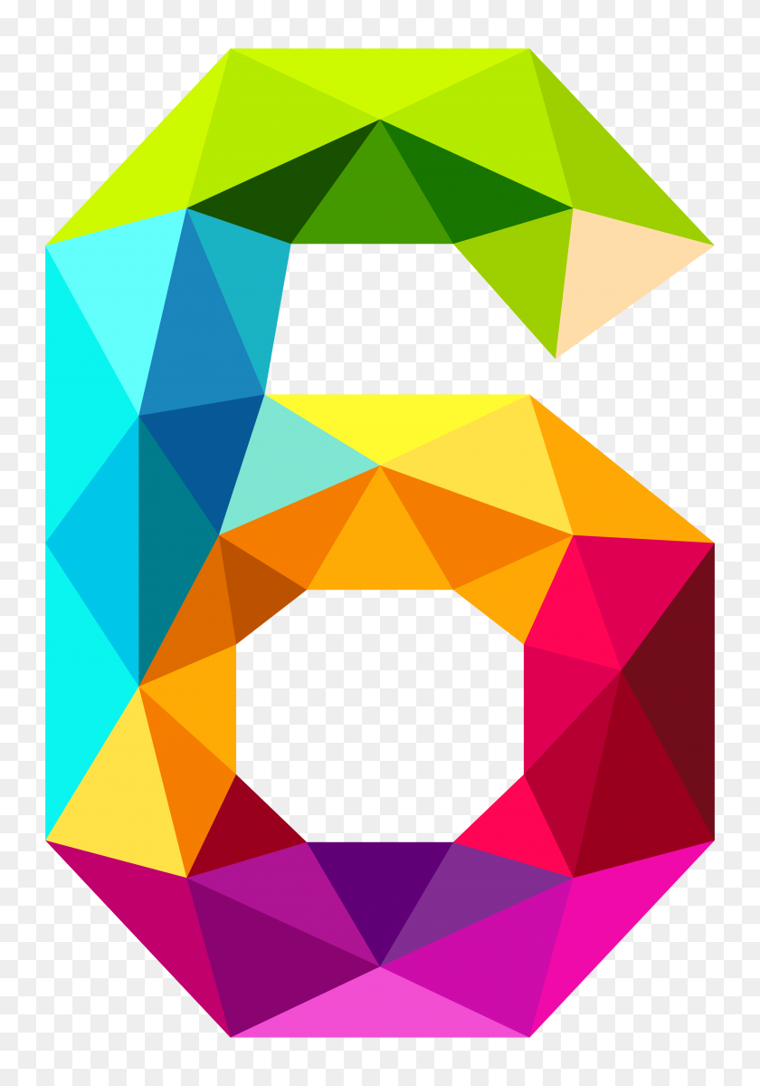 Colourful Triangles Number Six Png Clipart Gallery - Number 6 Clipart