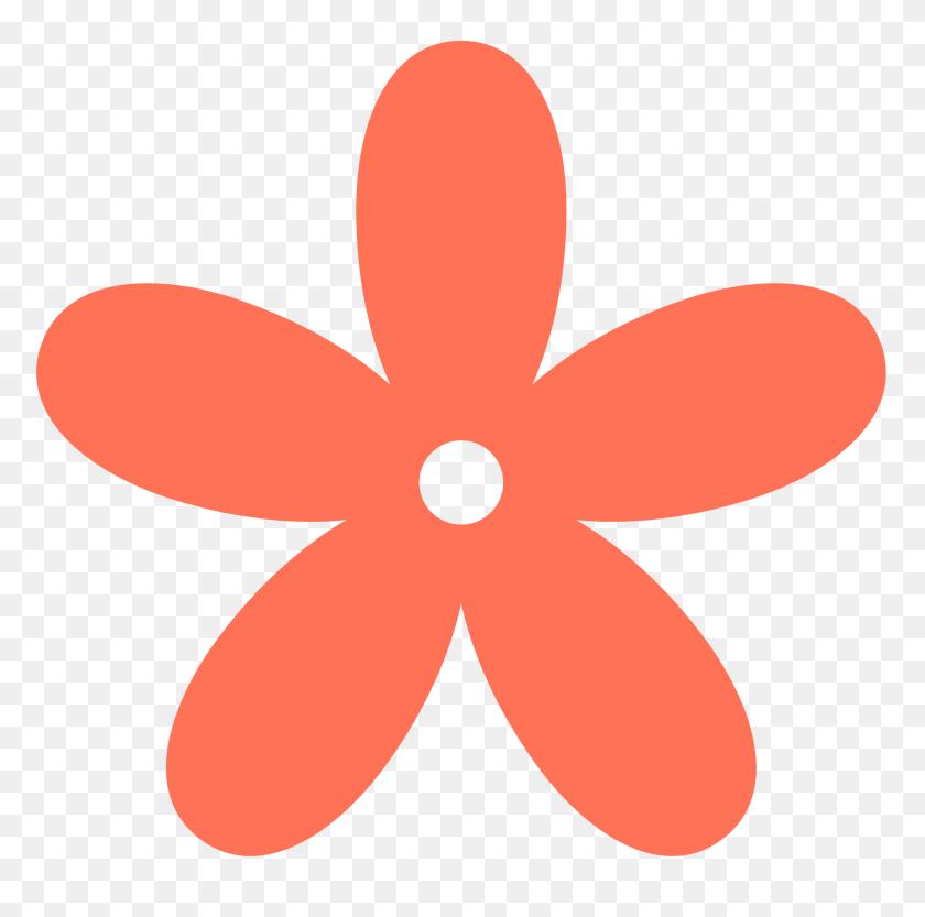 Coral Clipart Retro Flower Color Colour Coral Peace - Orange Flower PNG