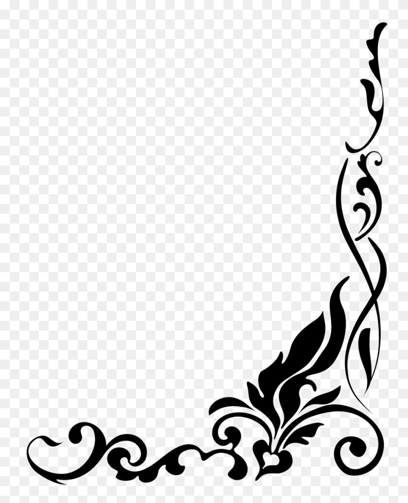 Corner Border Flower Border Flower Corner Clip Art Free Clipart - Black And White Floral Clipart