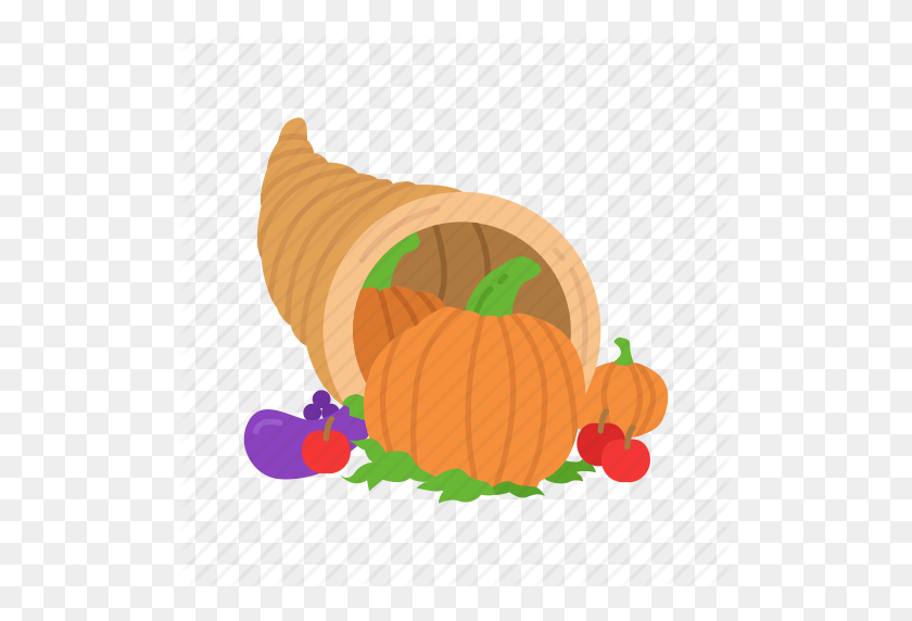Cornucopia, Fruits, Holiday Basket, Thanksgiving Icon - Thanksgiving Cornucopia Clipart