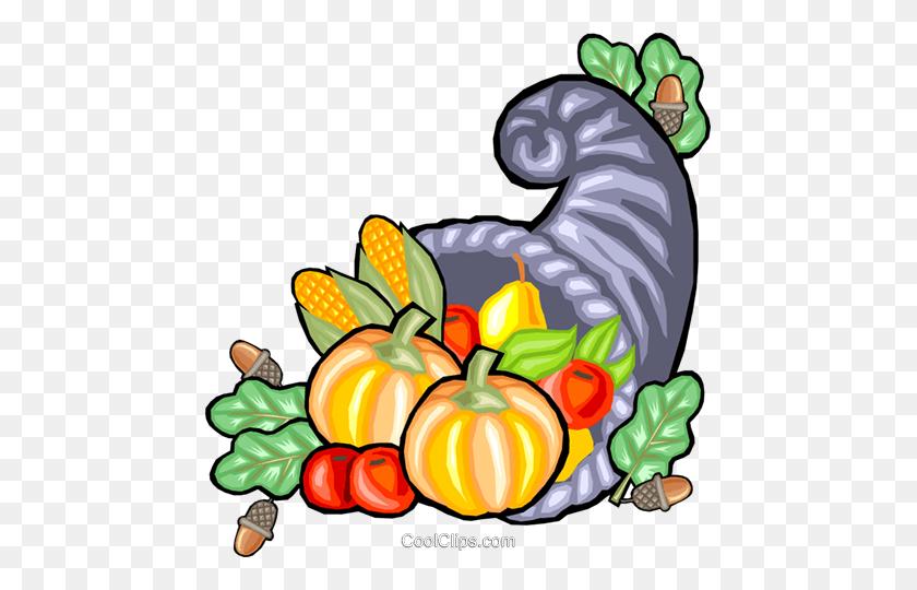 Cornucopia Of Fall Harvest Royalty Free Vector Clip Art - Thanksgiving Cornucopia Clipart