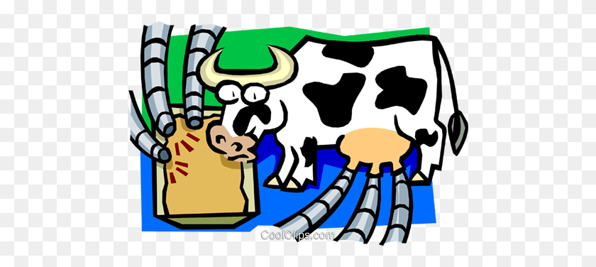 Cow As Cyclical Milking Machine Royalty Free Vector Clip Art - Milking A Cow Clipart