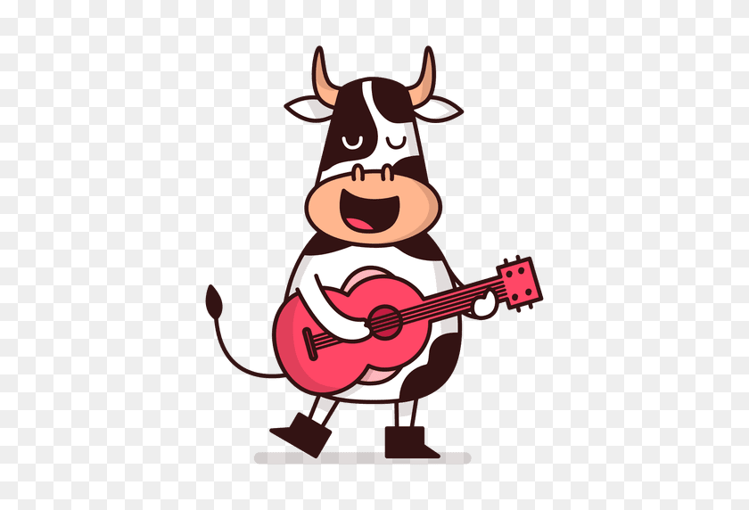 Cow Playing Guitar Cartoon - Milking A Cow Clipart