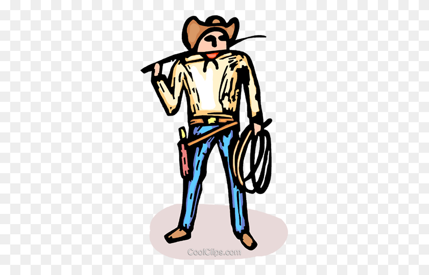 Cowboy With Gun And Whip Royalty Free Vector Clip Art Illustration - Whip Clipart