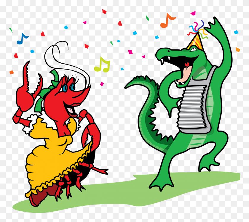 Crawfish And Alligator Dancing Vector Clip Art - New Orlean Saints Clipart