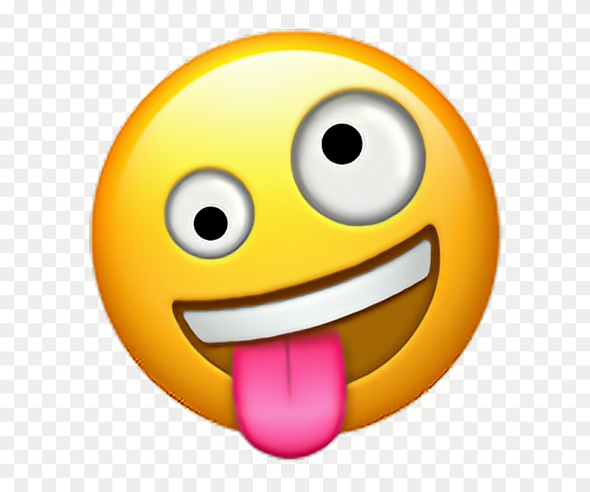 Crazy Face Emoji Crazy Face Emoji Emoticon Iphone - Crazy Face PNG