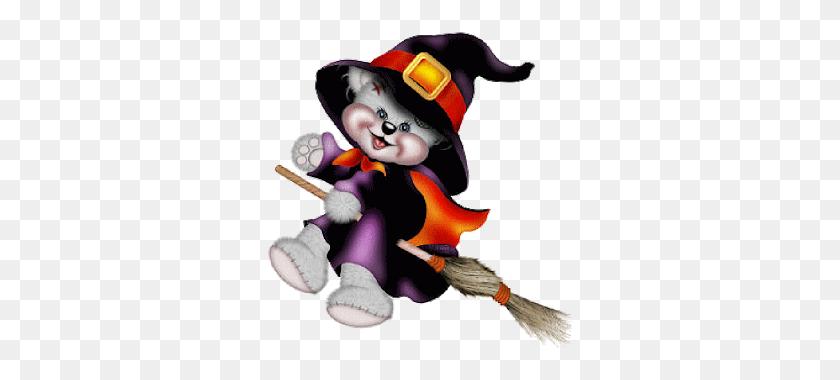 Creddy Teddy Witch On Broom Halloween Clip Art Clip Art - Witch On A Broomstick Clipart