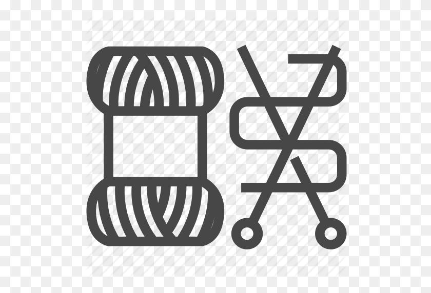 Crochet, Equipment, Hook, Needle, Sewing, Yarn Icon - Yarn And Crochet Hook Clipart