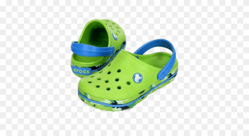 Crocs Green And Blue Clogs Transparent Png - Crocs Clipart