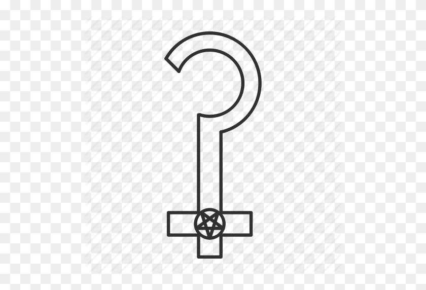 Cross, Question Mark, Satanic Cross, Satanism Icon - Upside Down Cross PNG