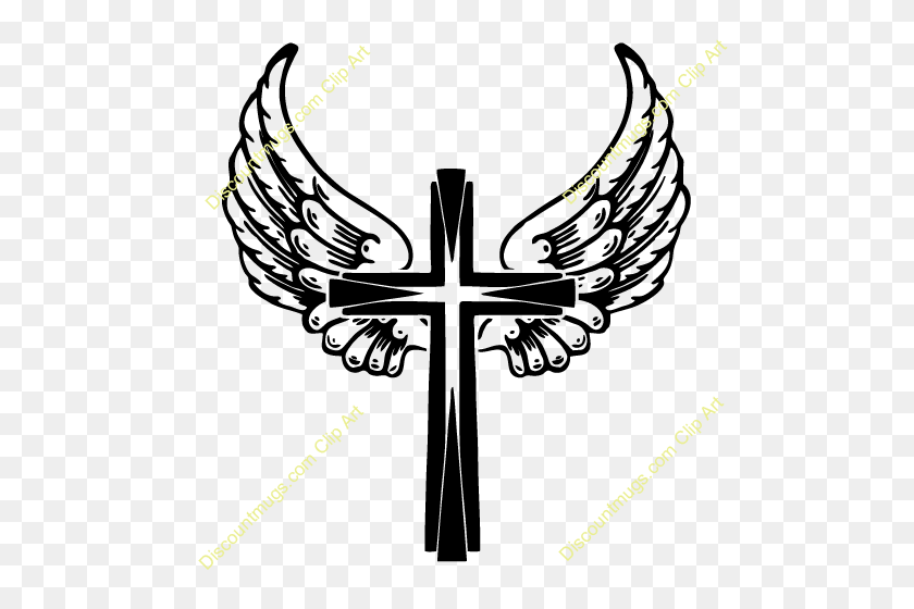 500x500 Cross With Wings Clipart - Sympathetic Clipart