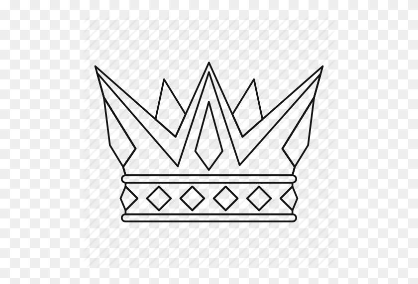 Crown, King, Leader, Line, Outline, Queen, Thn - Crown Outline PNG