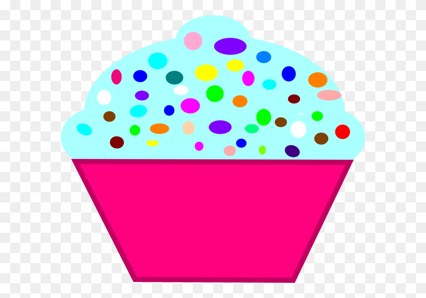 Cupcake Pink, Blue Frosting Clip Art - Cupcake Border Clipart