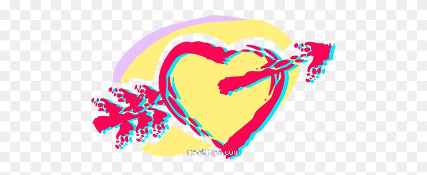 Cupid's Arrow Through A Heart Royalty Free Vector Clip Art - Heart With Arrow Clipart