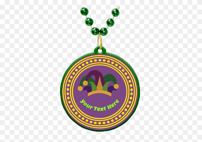 Custom Mardi Gras Bead Medallion In Mardi Gras Colors - Jester Hat PNG