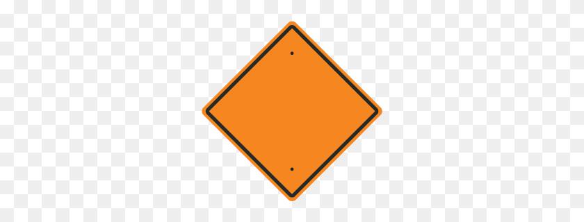 Custom Orange Diamond Traffic Sign - Blank Road Sign PNG