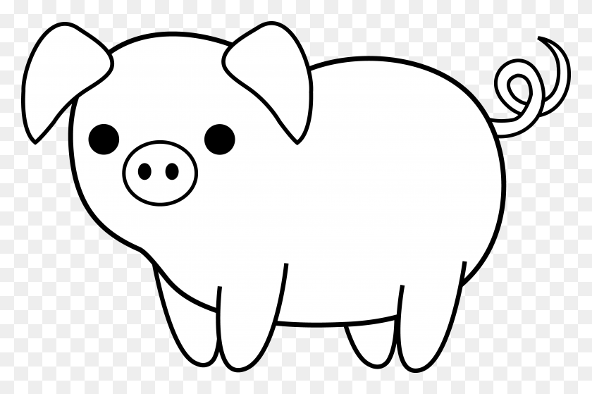 Cute Black And White Pig Clip Art Art, Clip Art - Pig Clipart