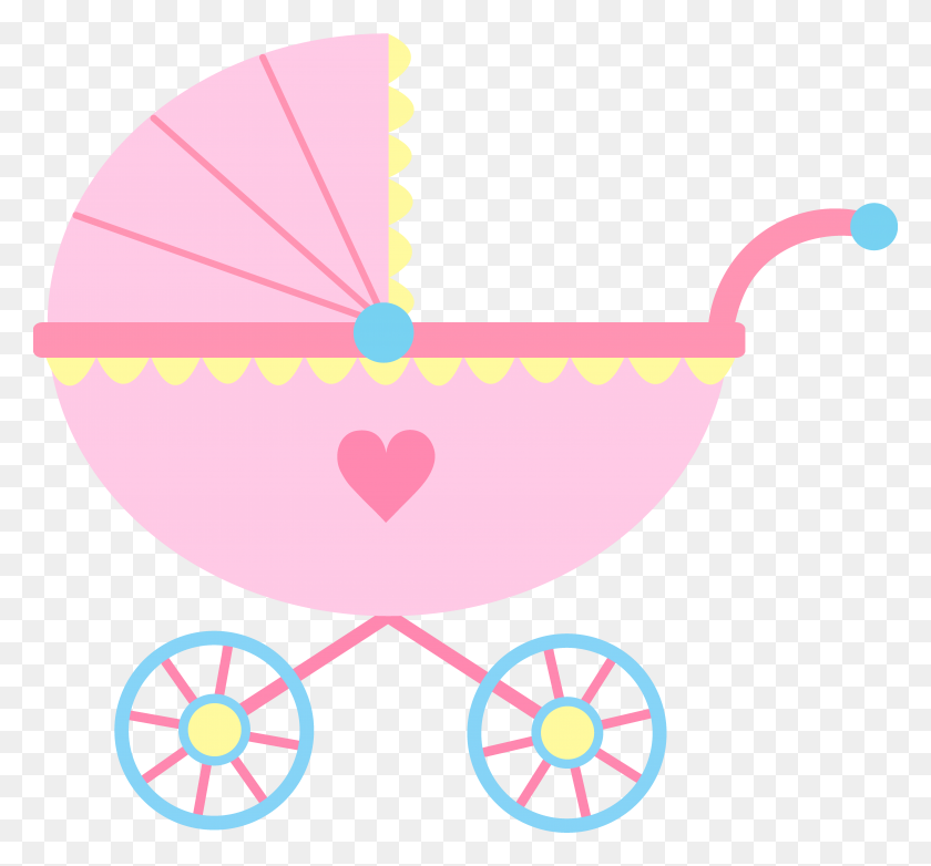 Cute Pink Baby Carriage - Pink Baby Clipart