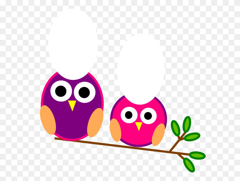 Cute Pink Owl Cute Pink And Purple Owls Clip Art - Pink Owl Clipart