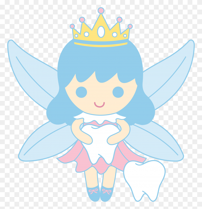 6733x6997 Cute Tooth Fairy Collecting Teeth Free Clip Art - Free Dental Clipart