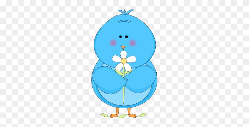 Cute Winter Bird Clip Art Blue Bird Holding A White Flower Clip - Winter Bird Clipart