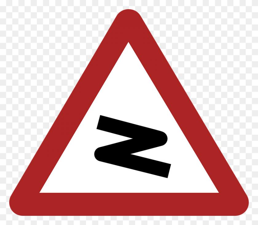 Dangerous Bend Warning Road Sign Transparent Png - Road Sign PNG